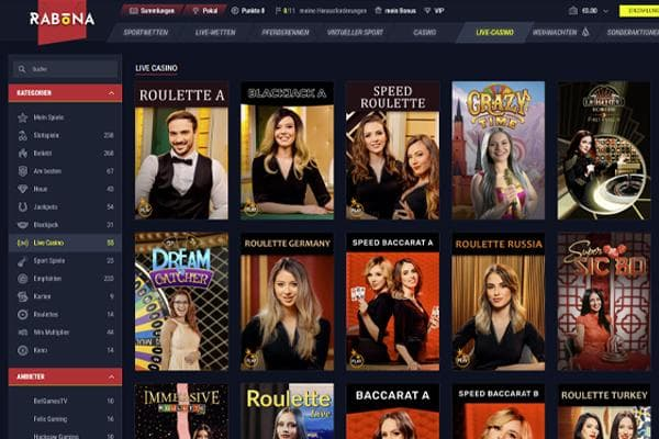 Rabona Online Casino Live Casino Screenshot der Website