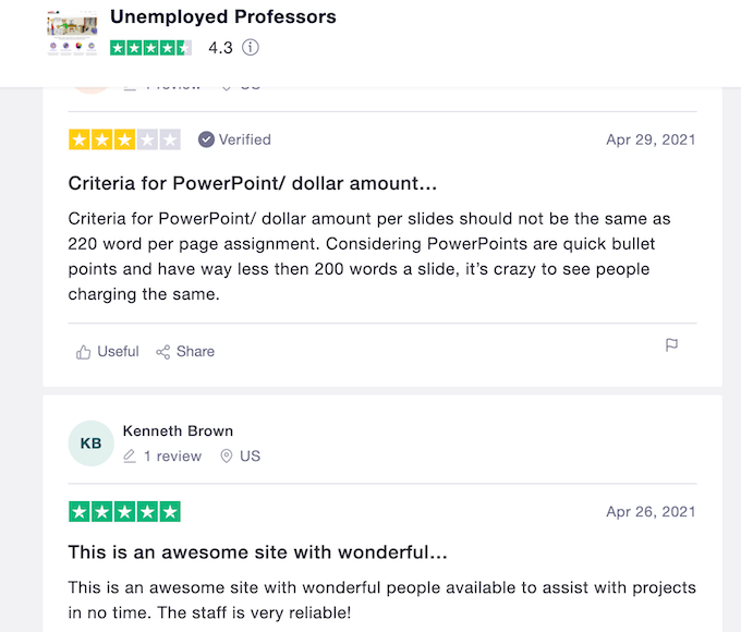 unemployedprofessors.com reviews on Trustpilot