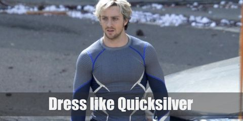 Marvel's Quicksilver wears a long-sleeved sport shirt with gray and blue color patterns, dark sport styled pants, and gray sneakers.