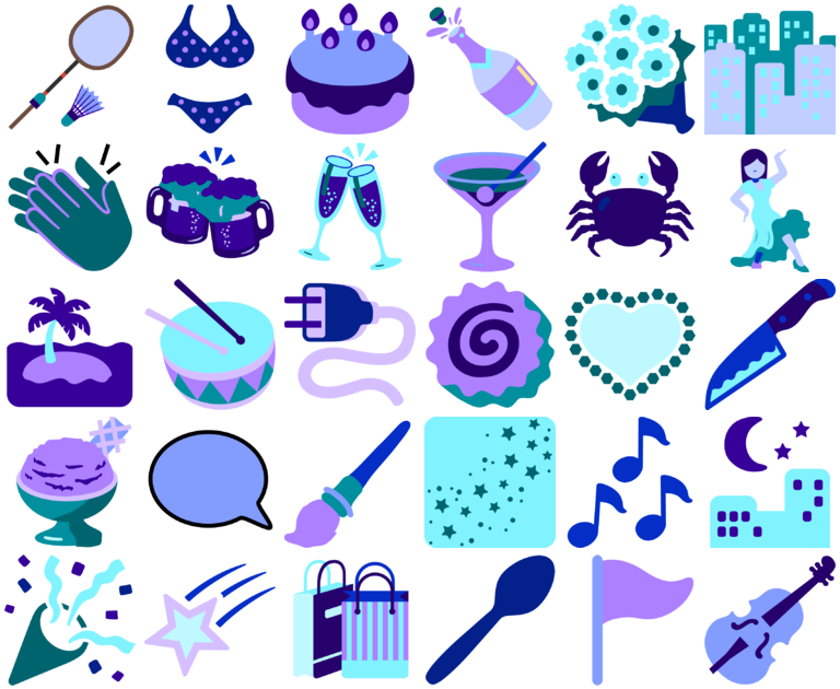 bold blues greens and purples, party and leisure icon pack