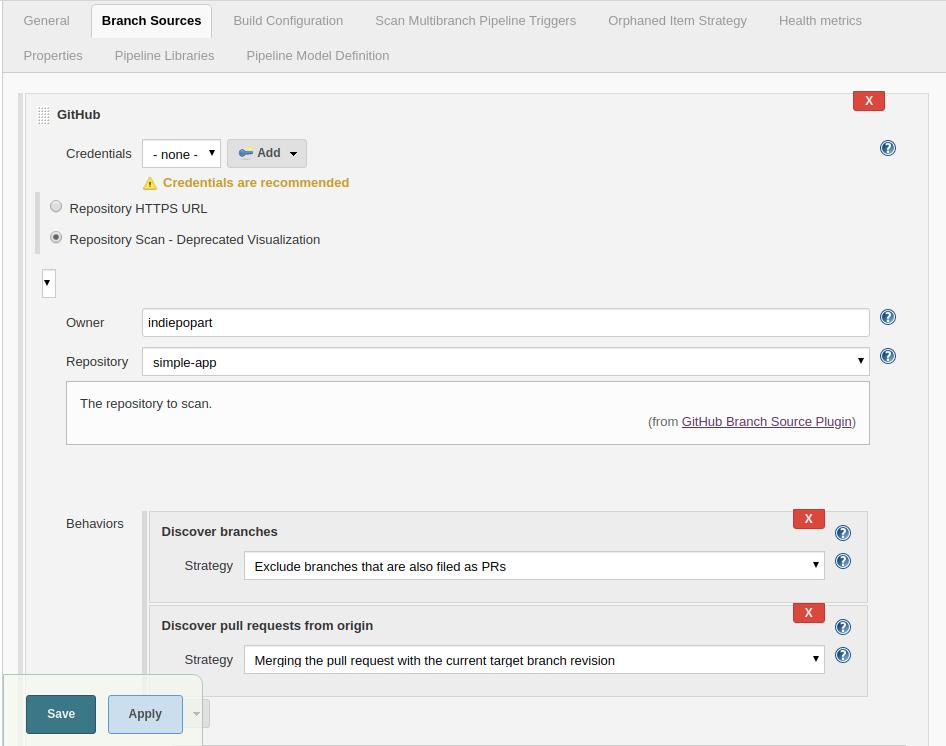 Jenkins branch source configuration screenshot