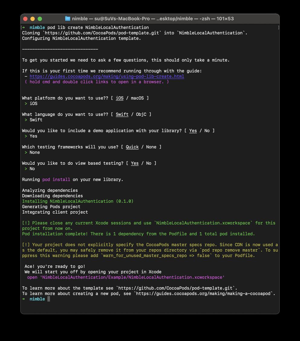 Successful pod creation output via the terminal