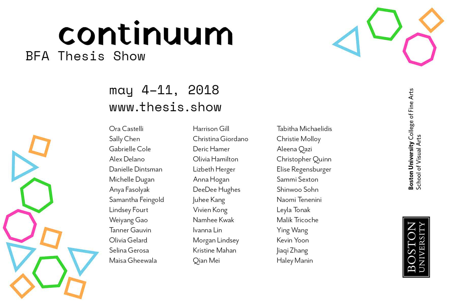 front of show card reading all participant's names