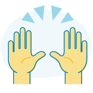 An icon of a pair of hands held up in the air.