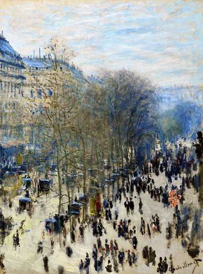 'Boulevard des Capucines' by Claude Monet ca. 1873-74, currently at Nelson-Atkins Museum of Art, Kansas City