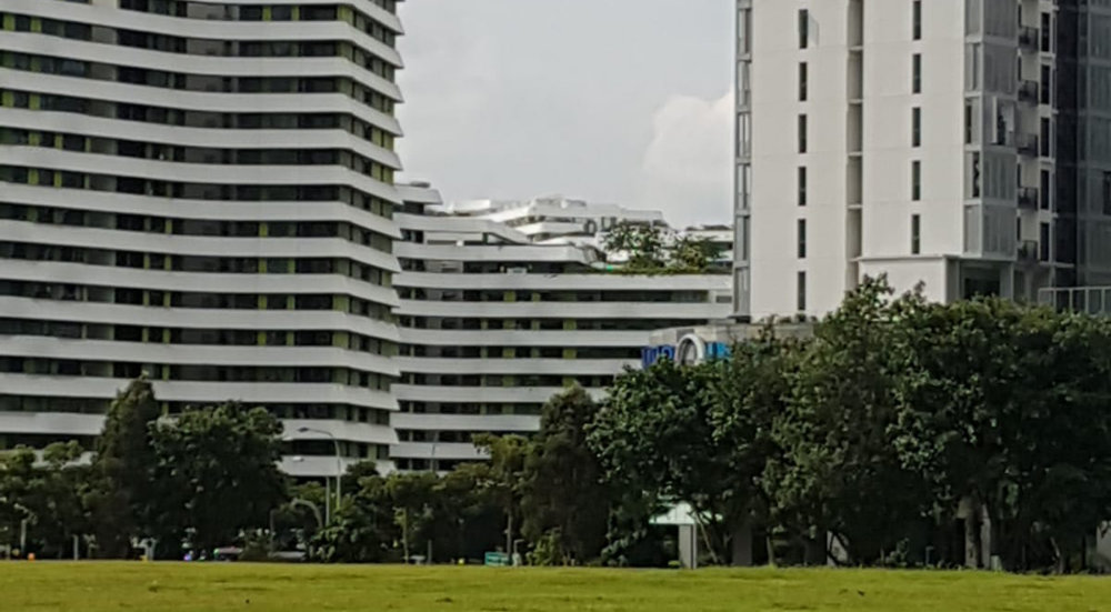 A photo of a Punggol HDB in the distance. The photo angle makes it look like it's collapsed.