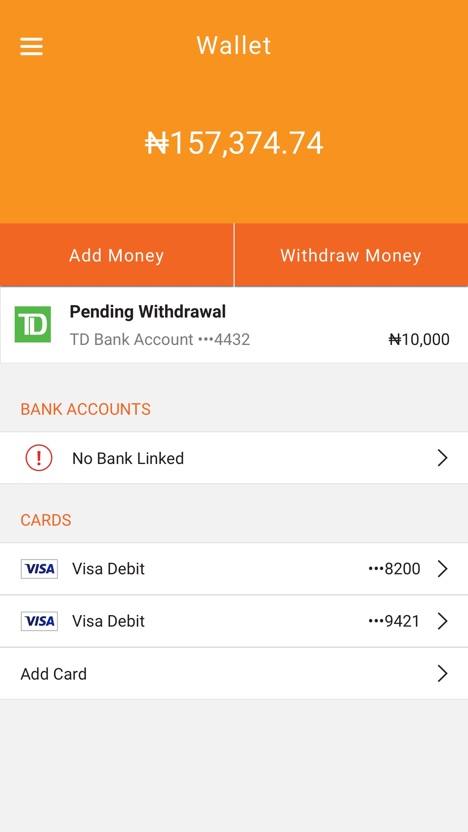 Screenshot of final UX/UI design for Paga mobile app, designed and developed by AgilityIO