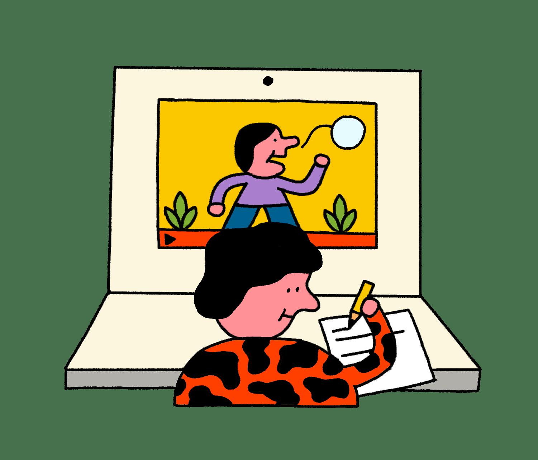 Illustration einer Videokonferenz mit zwei Teilnehmenden