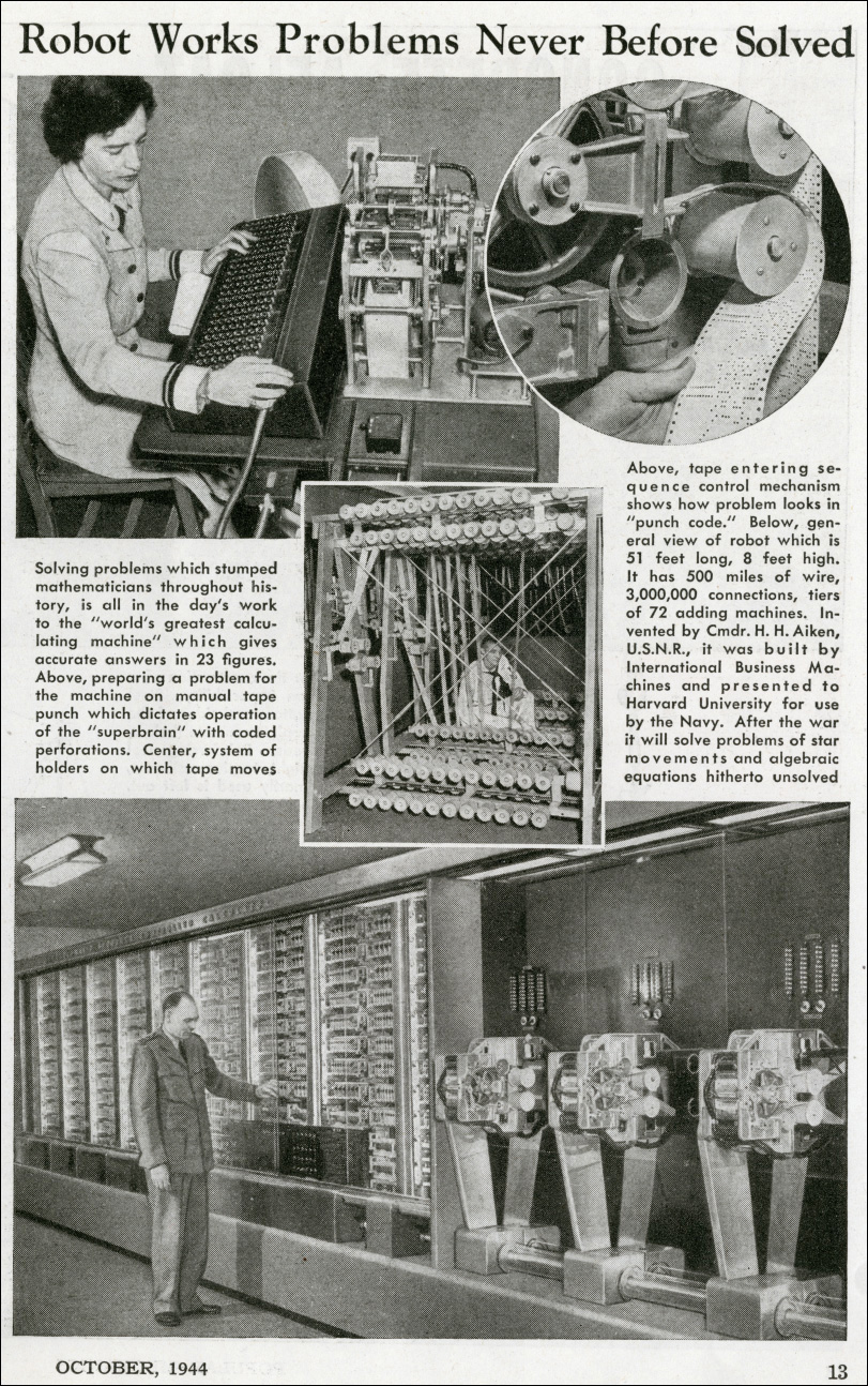 3.2: A 1944 Popular Mechanics article on the Harvard Mark I computer.