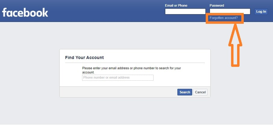 "Step 1 of password-reset with trusted friends: Select ""Forgotten account"" on the Facebook homepage"