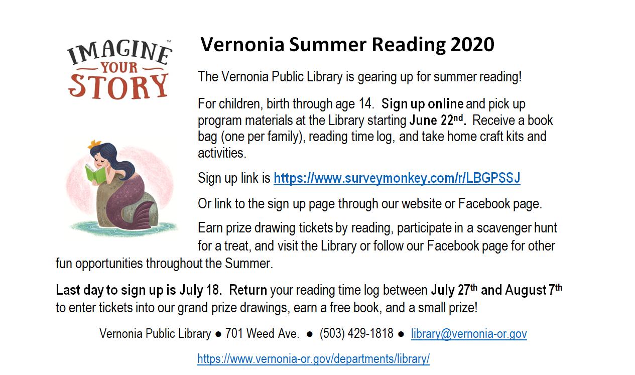 Vernonia Summer Reading 2020