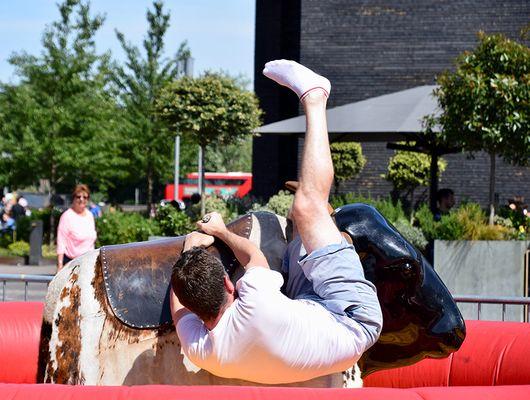 falling off the bull