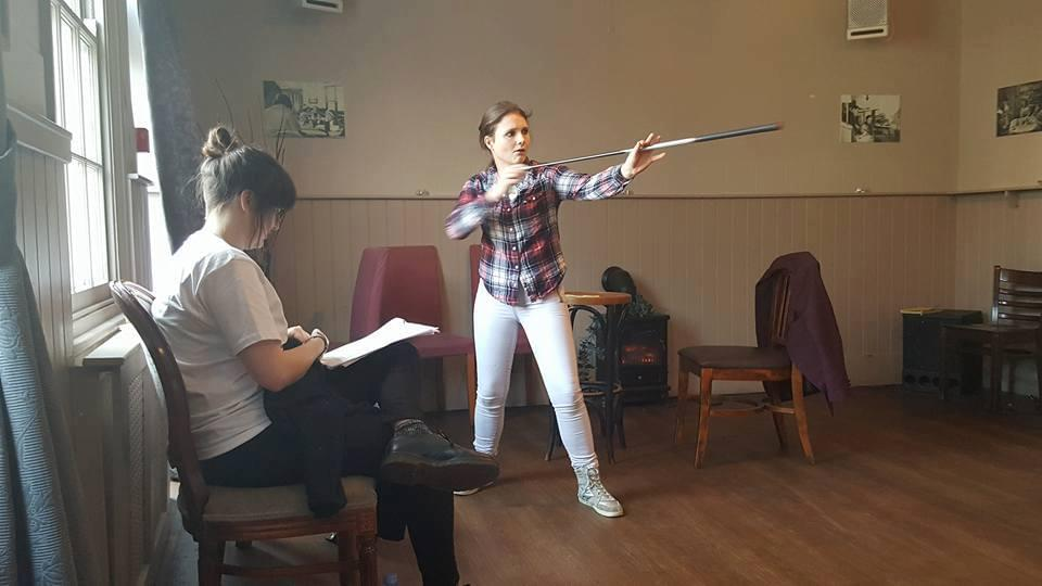 Director Anna Marshall and Jasmine Atkins-Smart, rehearsing for The Accidental Adventures of Sherlock Holmes