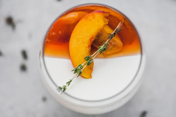Vanilla Yoghurt Panna Cotta With Balsamic Thyme Roasted Peaches And Nectarines