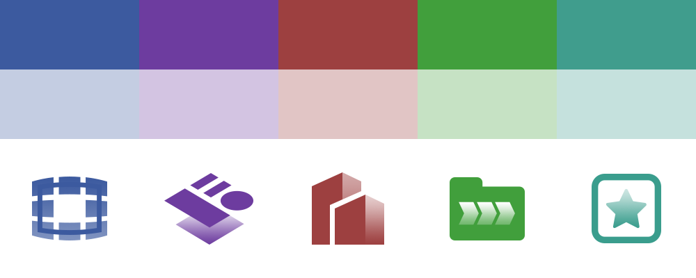 Each platform was assigned a color and a logo that represented it.
