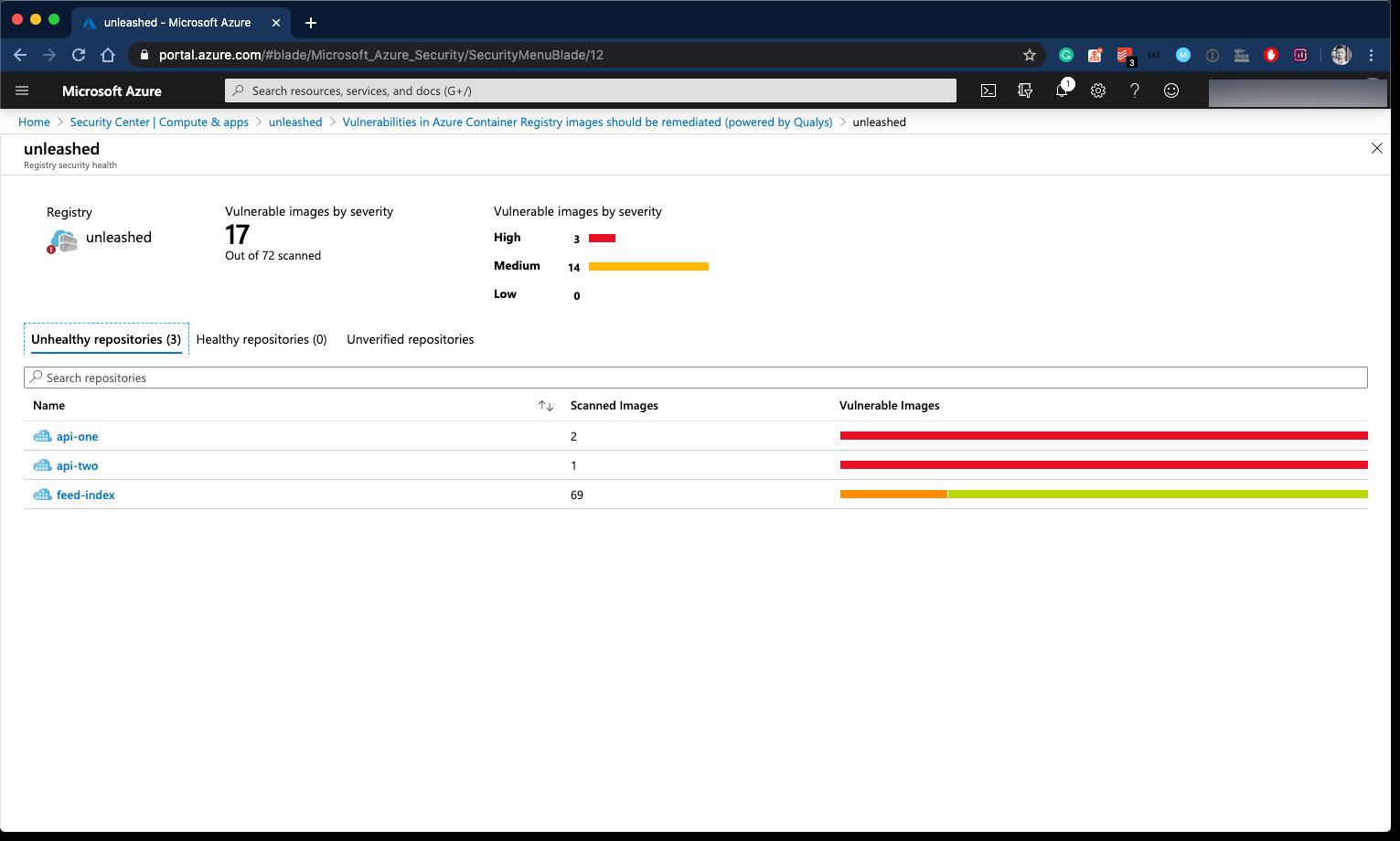 Azure Security Center - Findings per Docker Image