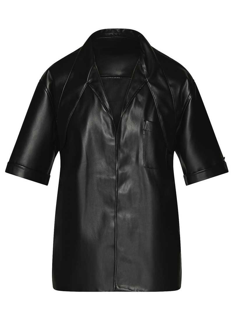 LATIF vegan leather shirt in black. GmbH Spring/Summer 2021 'RITUALS OF RESISTANCE'