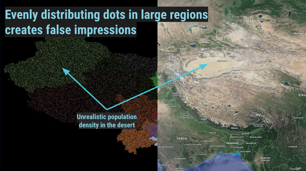 Evenly distributing dots in large regions can create false impressions
