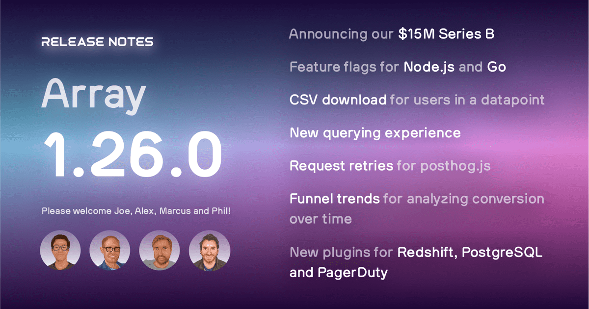 PostHog 1.26.0 is here! Read about our Series B raise, our new features, and find out who are the 4 new team members we've onboarded.