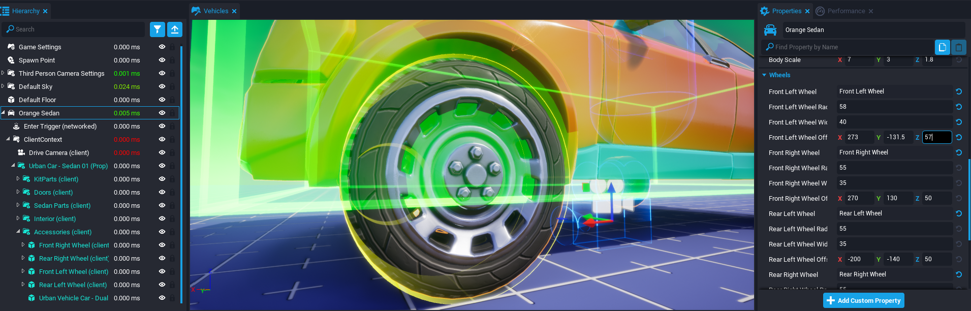 Editing Radius and Width and Offset for Each Wheel