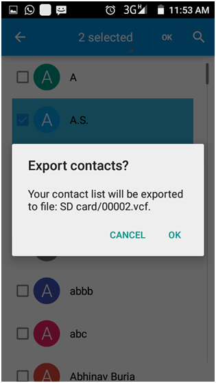 Select the contact you want to export