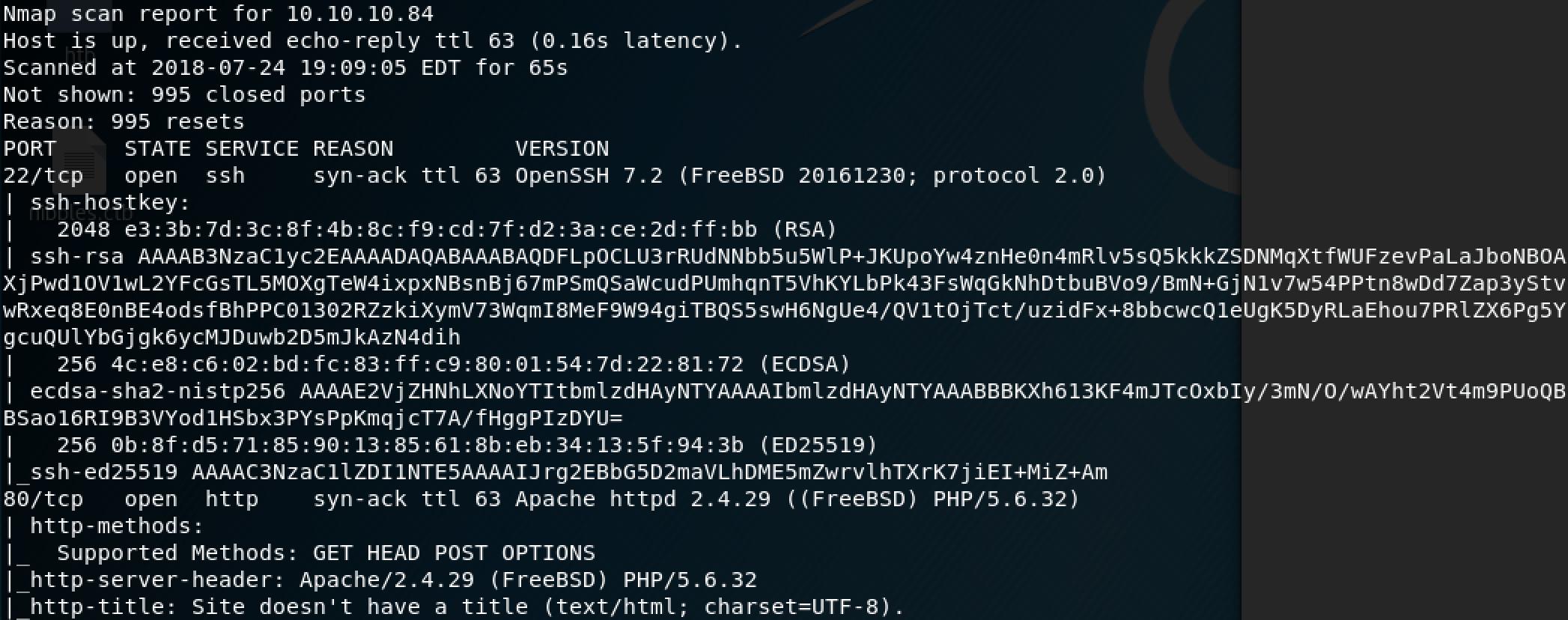 HackTheBox Poison nmap scan