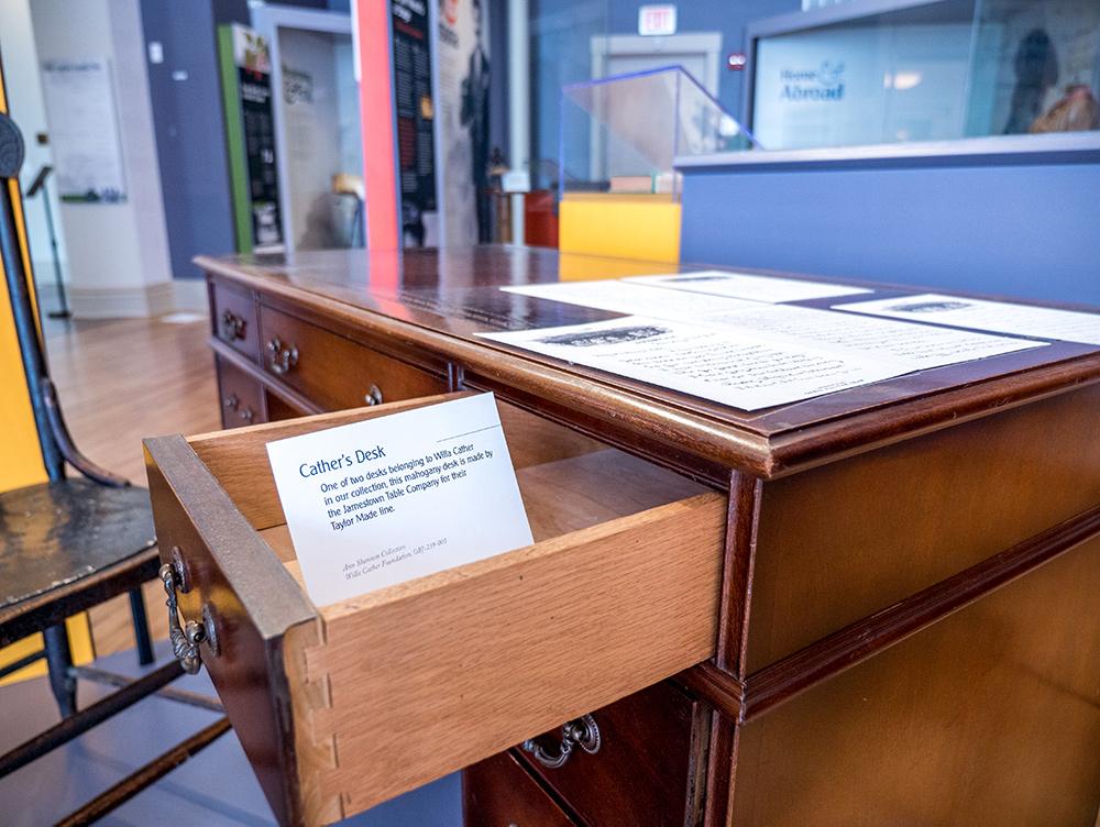 Willa Cather Exhibit desk