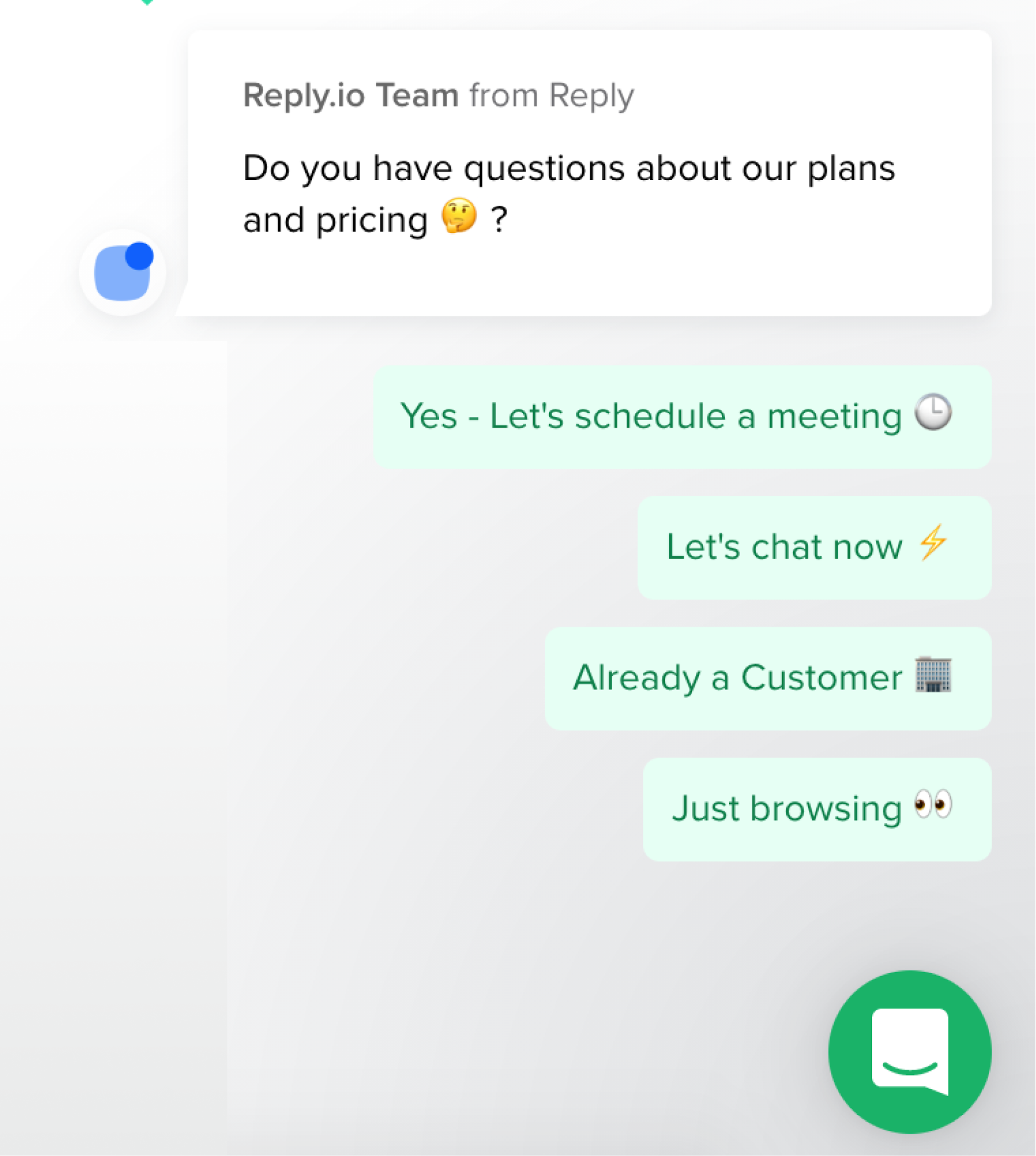 Reply.IO's chatbot in converstion