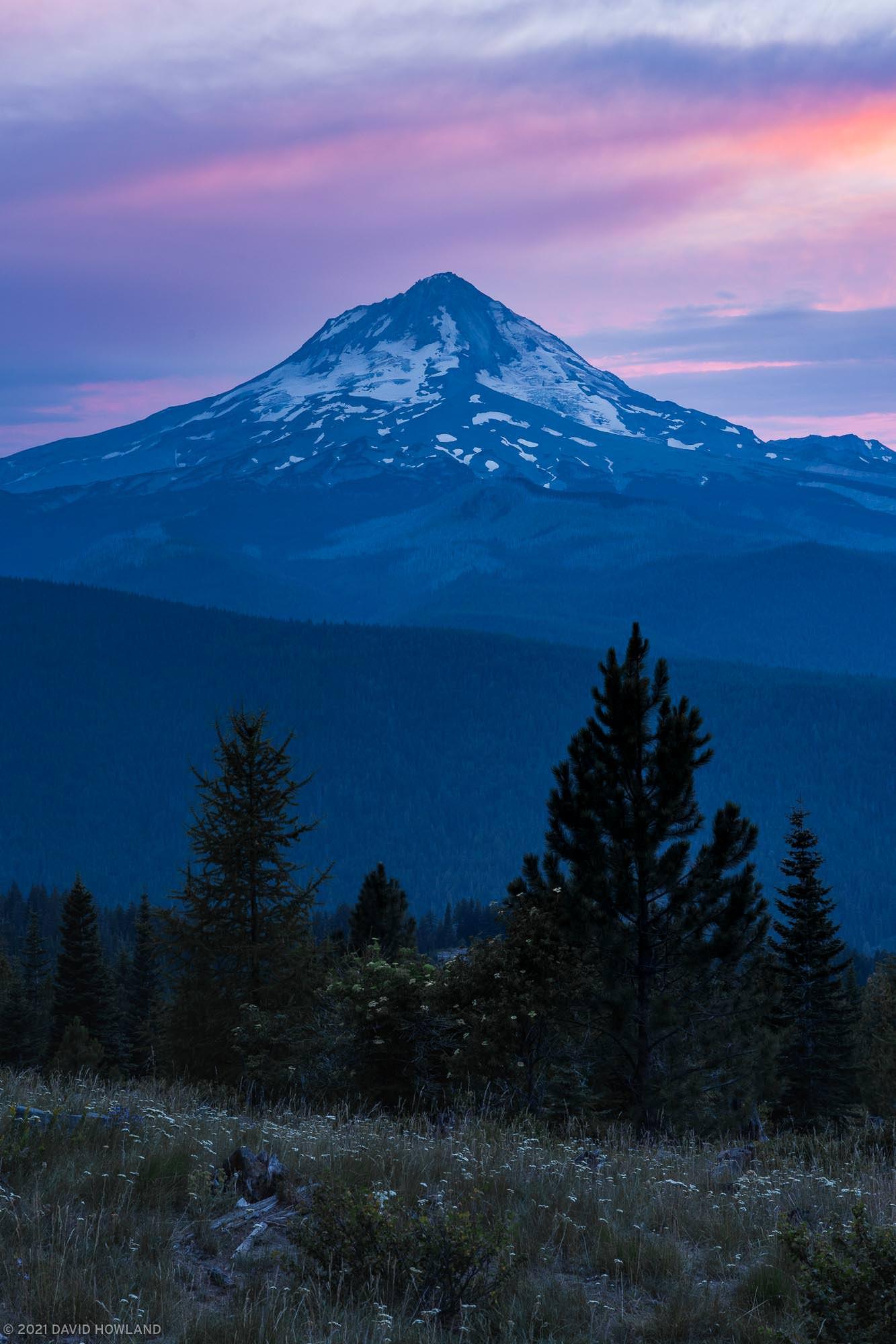 Wildfire Sunset over Mt Hood