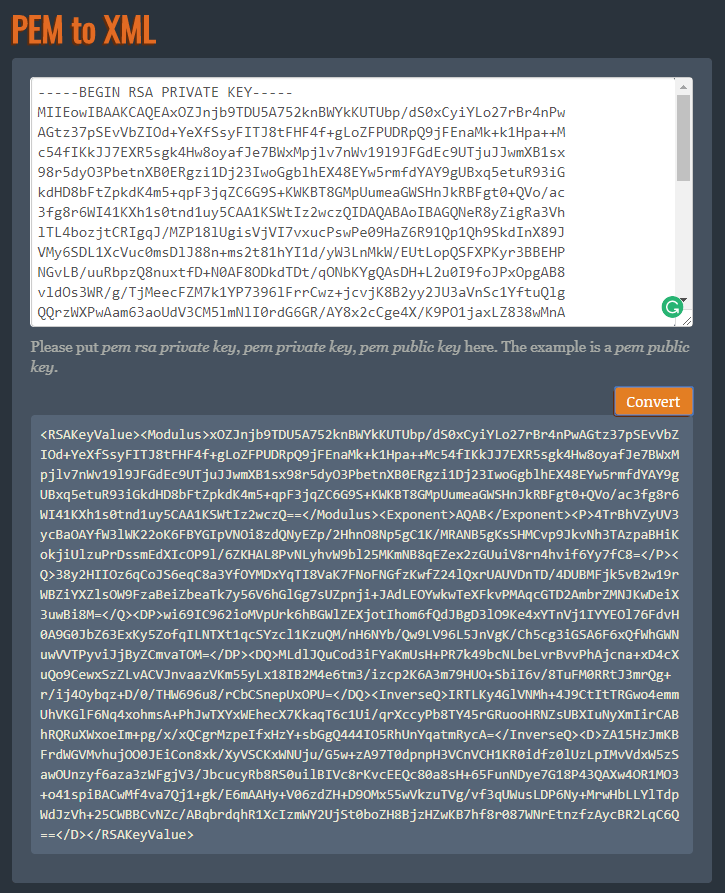 Convert PEM to XML