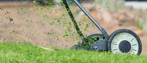 Grasmaaier met vliegend gras