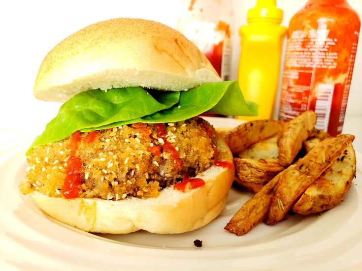 Portobello Mushroom Burger with Fries
