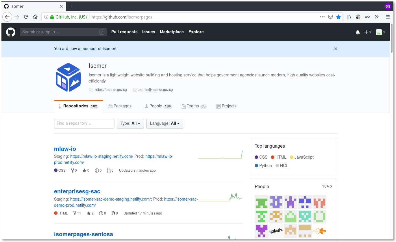 Screenshot of the GitHub banner saying 'You are now a member of Isomer!'