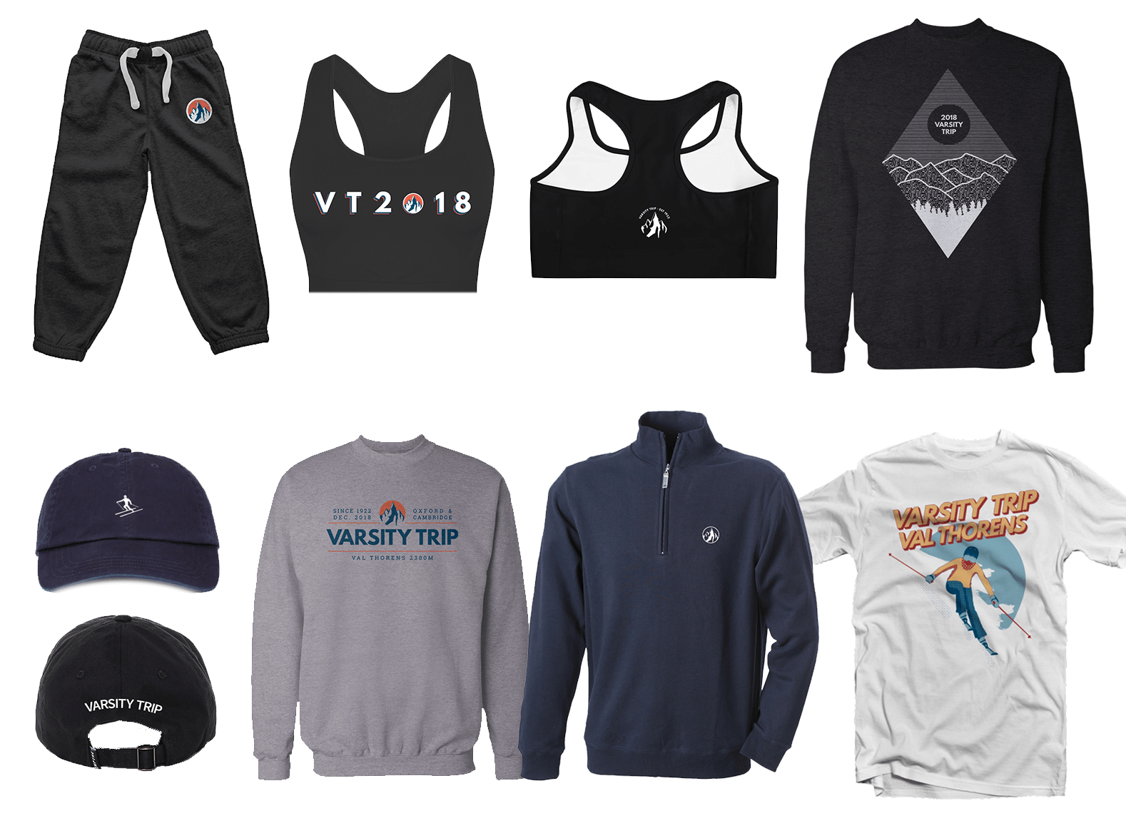 Mockups of a selection of Varsity Trip apparel