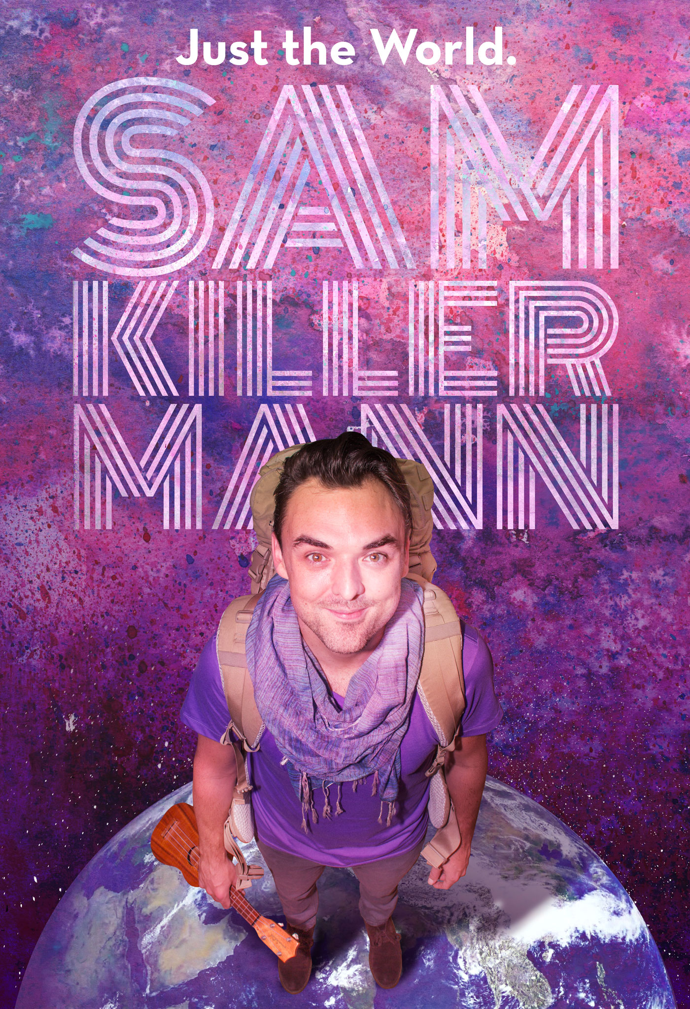 Sam Killermann standing on a globe holding a ukulele