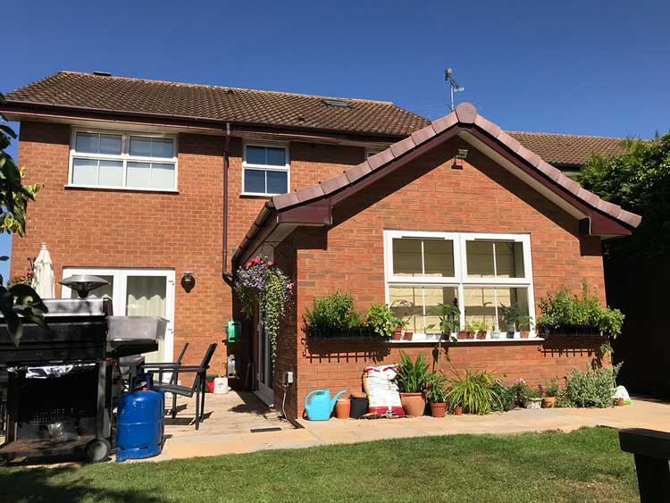 Rear brick extension to modern detached house