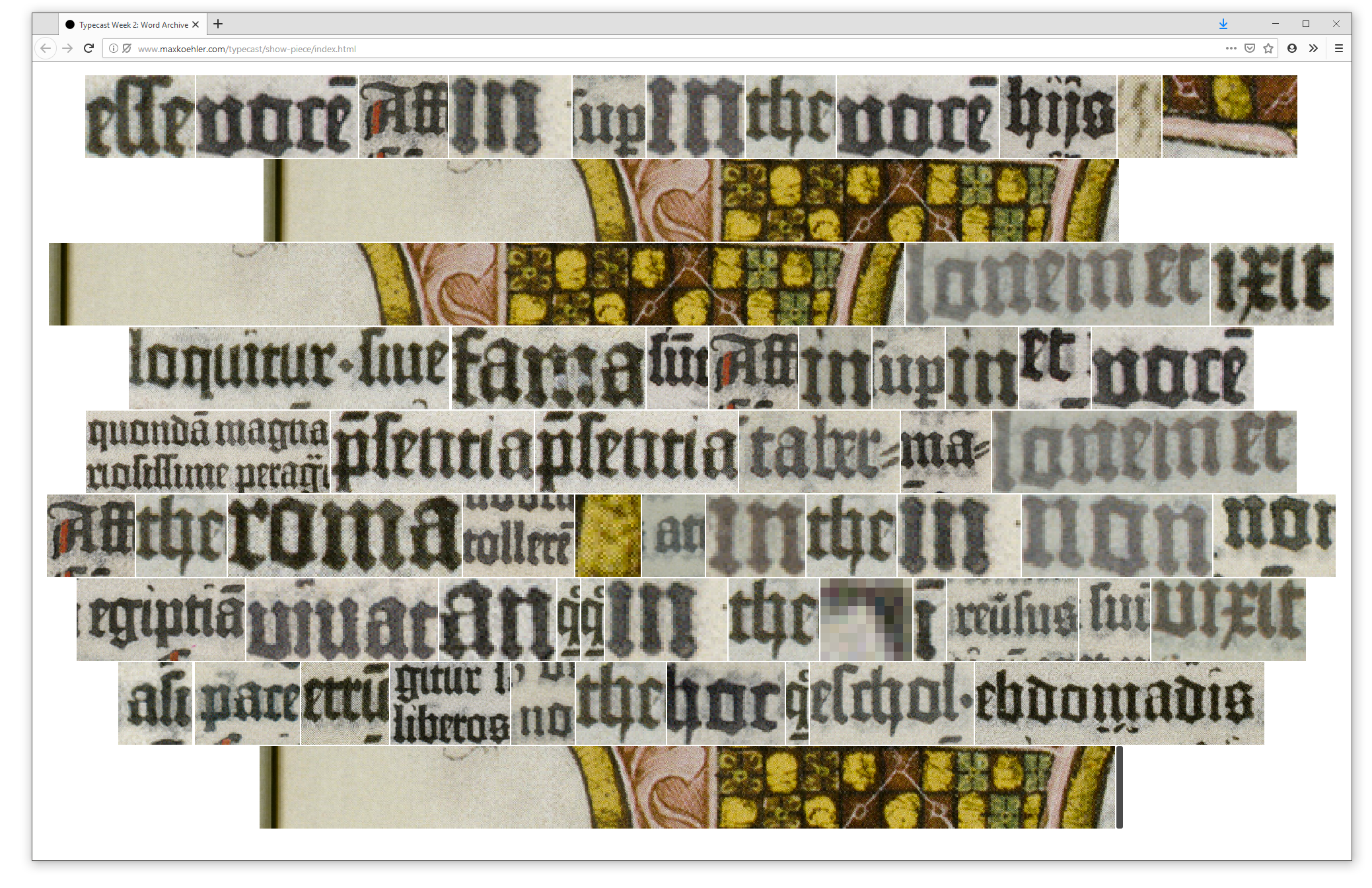 Web application showing words from the Gutenberg Bible