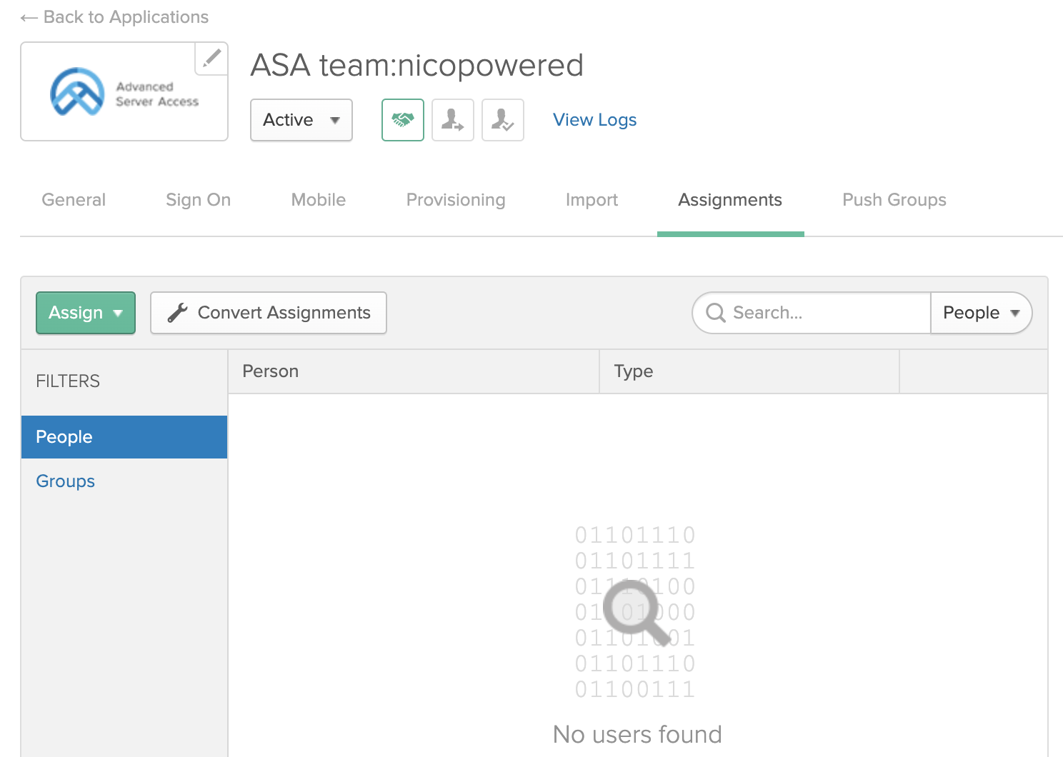 ASA app assignments