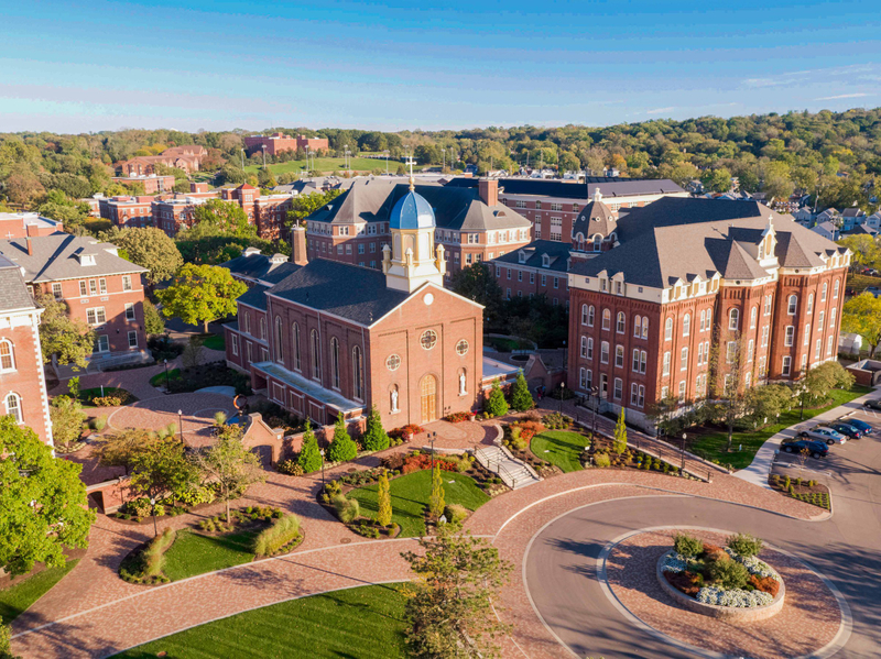 An aerial view of the Chapel of the Immaculate Conception on the University of Dayton campus