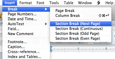 How to have page numbers start on page 3 using MS Word 2011
