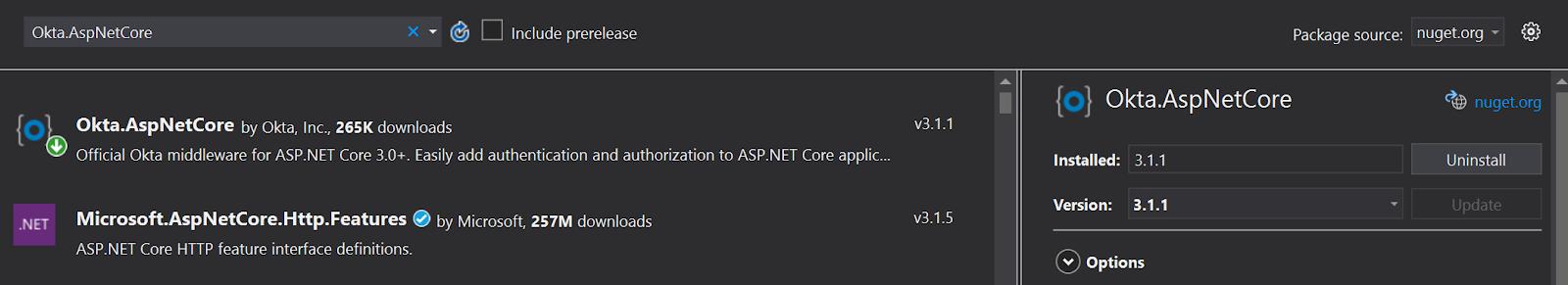 Install Okta .NET Core version 3.1.1.