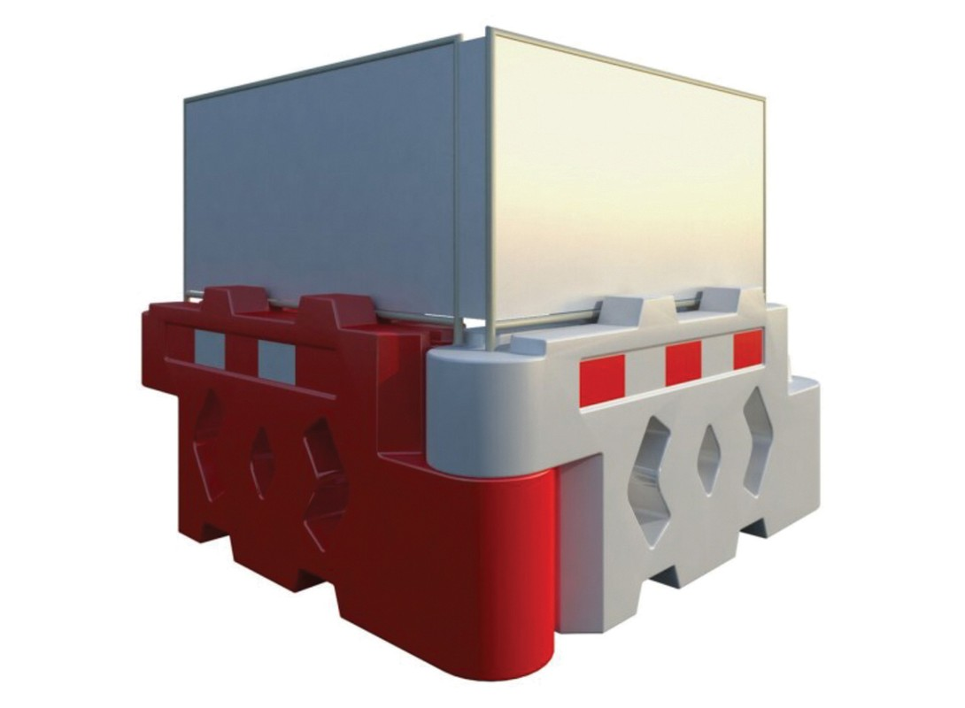 Bison water filled barrier with solid panel