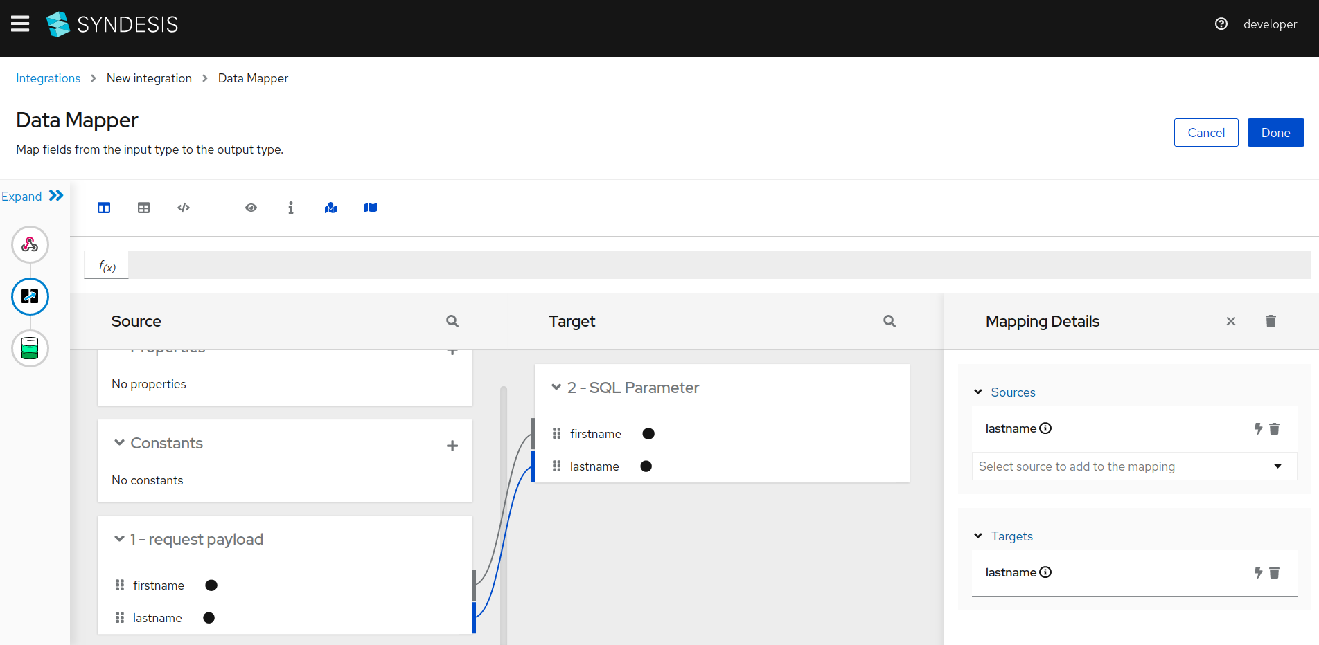 Data Mapper page