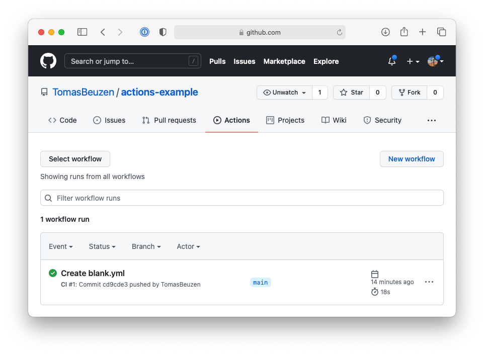 Our first GitHub Actions workflow.