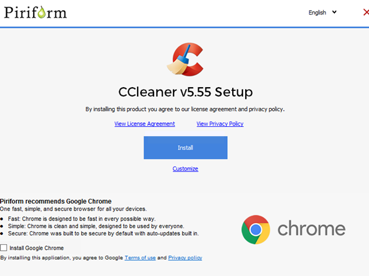 CCleaner by Piriform installation screen.