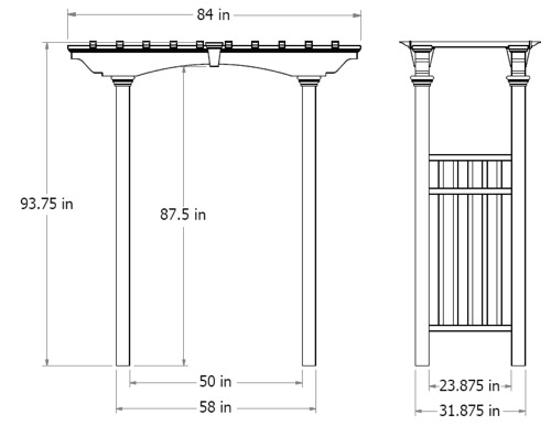 Newport Arbor wireframe dimensions