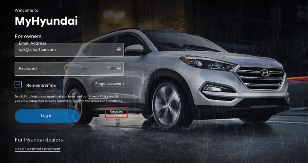 Hyundai's login page
