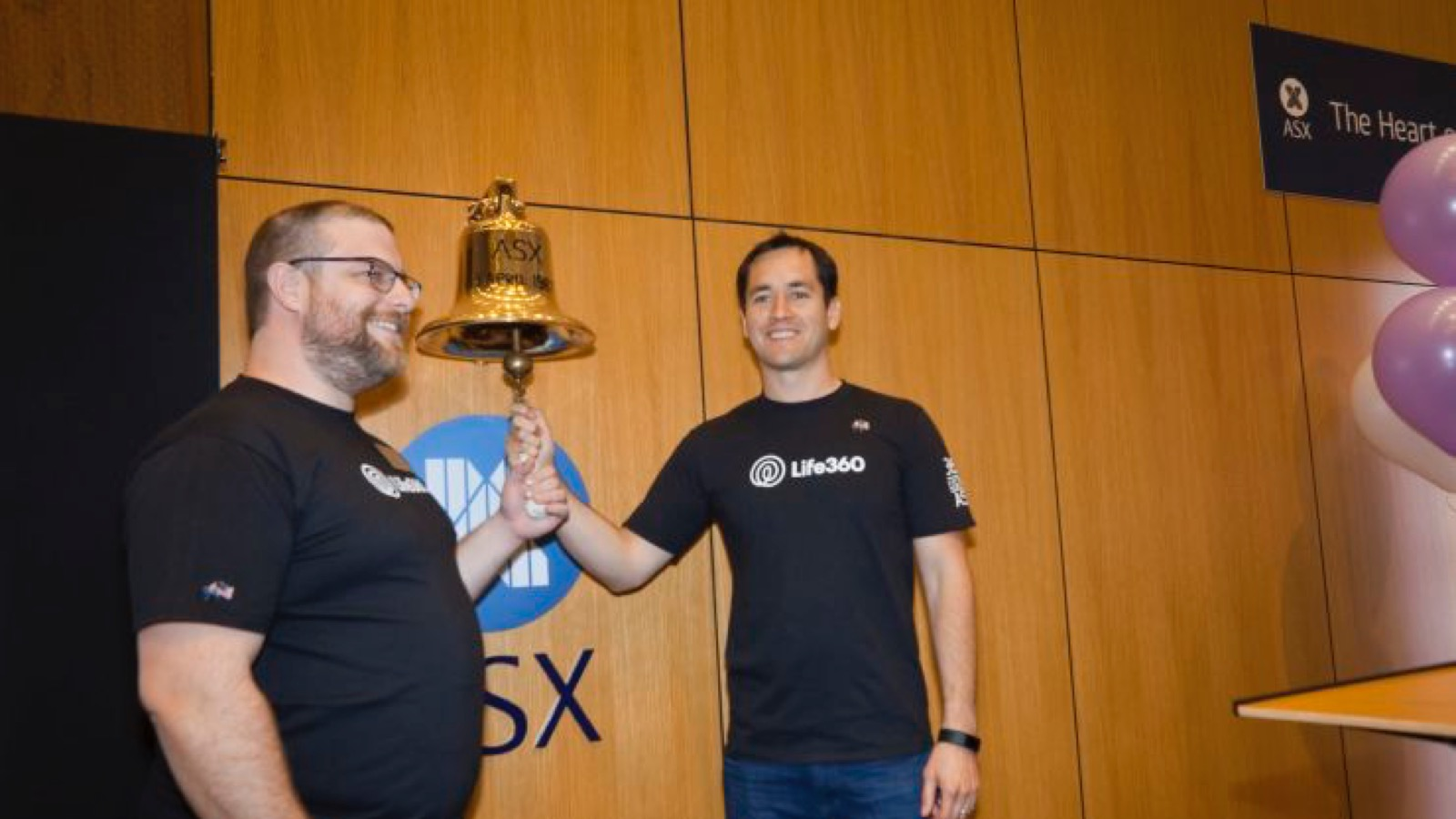 Life360 ringing the bell at the Australian Securities Exchange