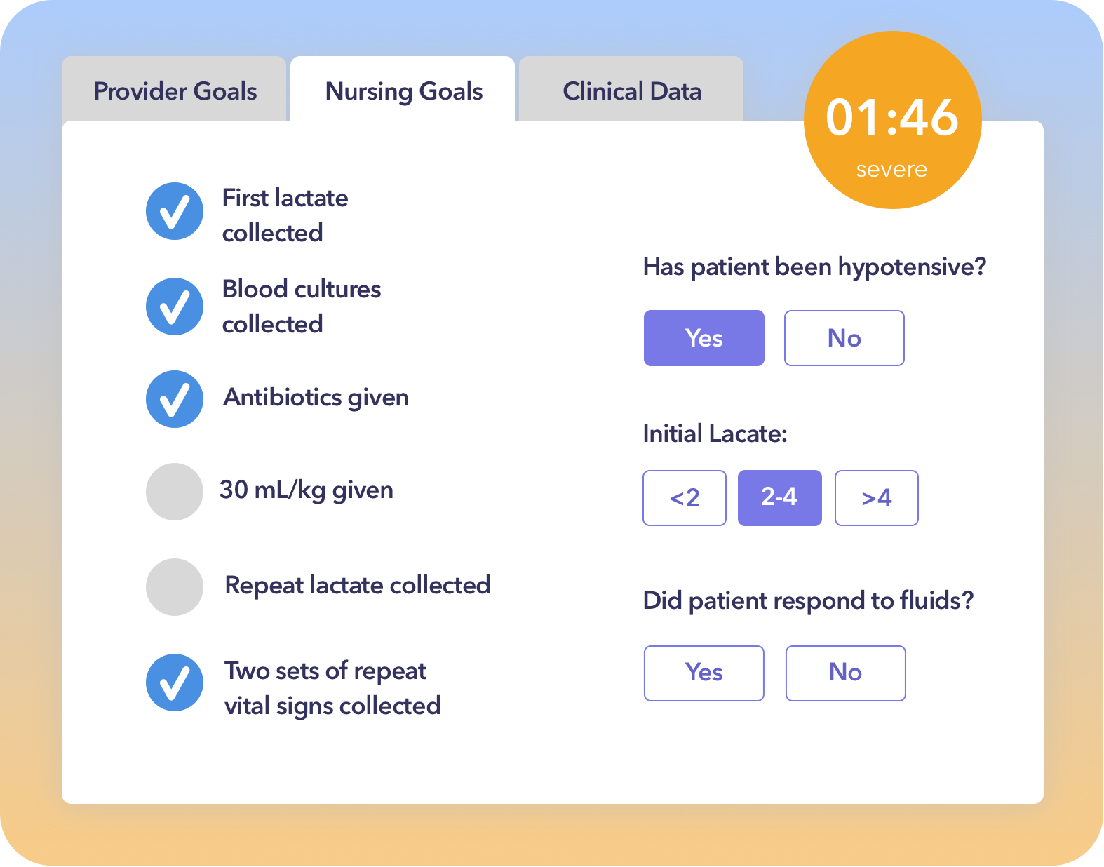 Screenshot of Sepsis Huddle Checklist™ app embedded in Epic or Cerner EHR.