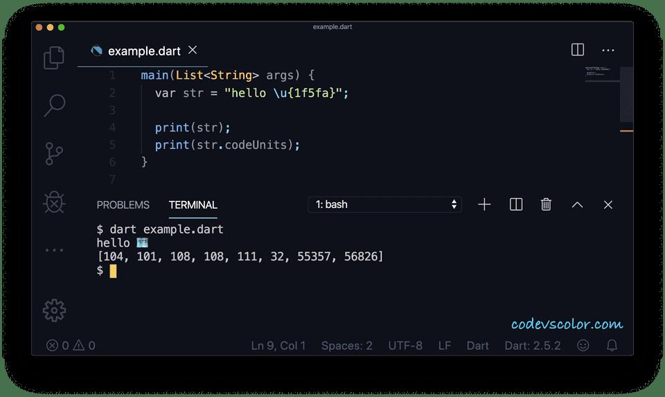 Dart example codeunits